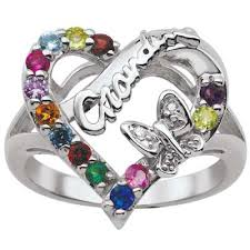grandmother rings grandmother s synthetic birthstone and diamond accent family heart
