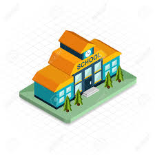 building isometric 3d pixel design icon modern flat