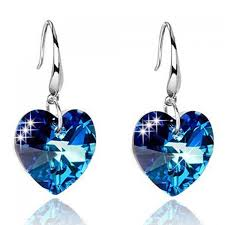 ear rings pair of alloy faux sapphire heart earrings in blue twinkledeals