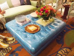 furniture rectangle blue velvet ottoman with nails accent on