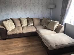 Wheat Corner Sofa With Footstool And Scatter Cushions In - Sofa and footstool