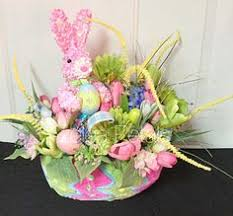 raz easter decorations raz easter basket arrangement bunny by azeleapetals on etsy