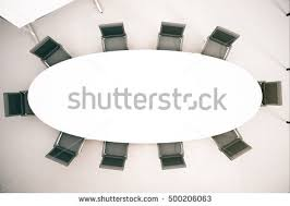 Circle Meeting Table Top View Empty Conference Table Chairs Stock Illustration