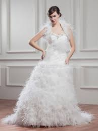 feather wedding dress luxurious feathered strapless wedding dress with matching bolero