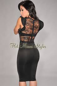 black lace dress black sheer lace knee length dress