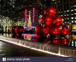 night scene of radio city music hall at christmas time downtown