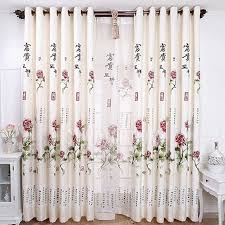 peony floral pattern polyester country style living room curtains