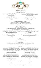 menu for brunch brunch dauphin s