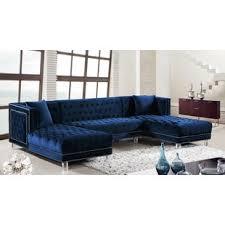 blue velvet sectional sofa blue velvet sectional sofas you ll love wayfair