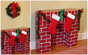 home decor creative cardboard christmas fireplace good home