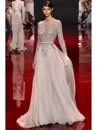 a line princess high neck long sleeves applique floor length