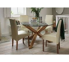 Buy Heart Of House Oakington Solid Oak  Glass  Seater Table At - Kitchen glass table
