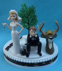 wedding cake topper deer hunting gun hunter camo themed ball and