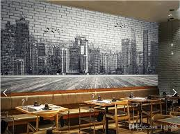 urban architecture black and white hand painted brick wall 3d large murals wallpaper living room
