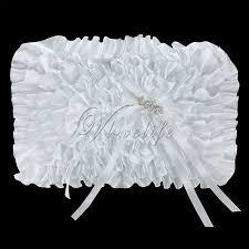 2pcs set white diamante buckle satin ribbon bow wedding guest