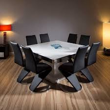 large square dining room table large square dining set white gloss table 8 high back black chairs