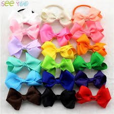 3 grosgrain ribbon 6pcs 3 grosgrain ribbon hair bow with colorful elastic hair bands