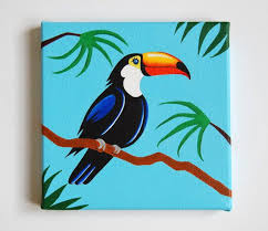 Nursery Bird Decor Original Toucan Painting Tropical Bird Nursery Bird Decor