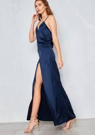 navy maxi dress petunia navy cami thigh split maxi dress empire