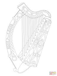irish harp coloring page free printable coloring pages