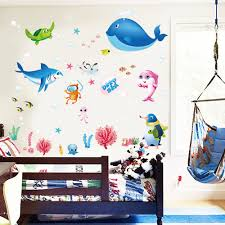 colorful fish shark ocean wall stickers vinyl decal mural kid s aeproduct getsubject