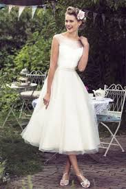 tea length wedding gowns illusion cap sleeve classic tea length ivory lace and tulle