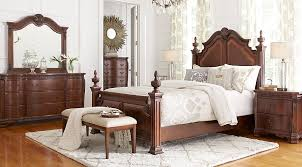 King Poster Bedroom Set | cortinella cherry 5 pc king poster bedroom king bedroom sets dark wood