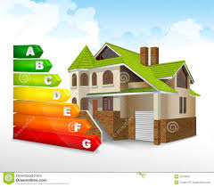 energy efficiency rating with big house stock vector image 32270925