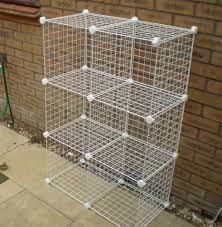 simple outdoor with wire cube storage rack units white wire cubes