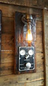 Wooden Wall Sconce Steampunk Industrial Barn Wood Wall Sconce Boiler Control Light La