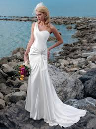 wedding dresses 2011 summer simple wedding dress satin with one shoulder neckline beaded
