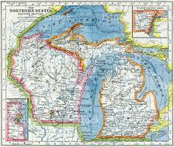 Wisconsin Usa Map Wisconsin And Michigan Map 1883 Stock Photo Istock