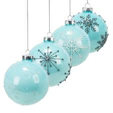 set of 4 assorted blue glass snowflake ornament