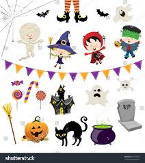 halloween clipart cute collection cute halloween characters collection stock vector 481871851