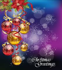 christmas ornaments with greeting card background vector 02