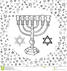 hand drawn sketch of menorah traditional jewish religious symbols