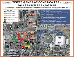 San Francisco Street Parking Map by Where To Park At Comerica Park Detroit Tigers Theballparkguide