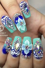 nail art with rhinestones gems pearls and studs make you