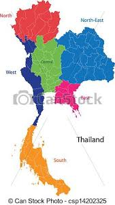thailand vector map map of kingdom of thailand with the provinces colored in vector