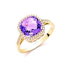 amethyst diamond engagement ring square cut amethyst and diamond ring yellow gold