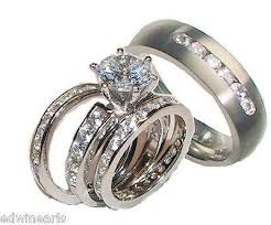titanium wedding ring sets his hers 4 cz wedding ring set sterling silver titanium
