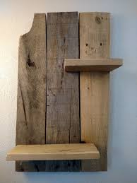 rustic reclaimed wood wall shelf beam bottle
