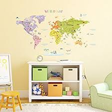 Large Wall Stickers For Living Room by Decowall Dmt 1306n Colourful World Map Kids Wall Decals Wall