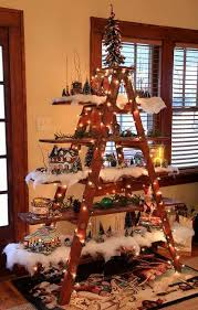 tree decorating idea ladder display shelf country