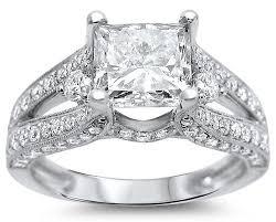 15000 wedding ring 2 50ct princess cut engagement ring 18k white gold front