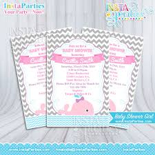 whale baby shower invitations baby shower invitations girl whale pink girly pink gray invitation