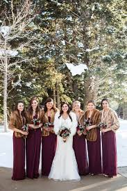 fur shawls for bridesmaids bridesmaids in fur coats for winter weddings trendy magazine