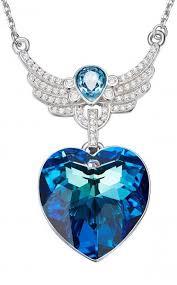 blue heart necklace images Blue heart angel wing necklace sterling silver shop online jpg