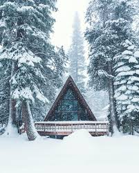snow falls on an a frame cabin in the woods 1080x1350