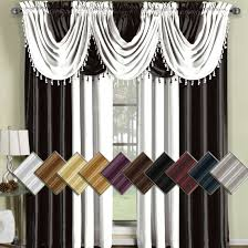 soho silk curtain panels and waterfall valances sold single